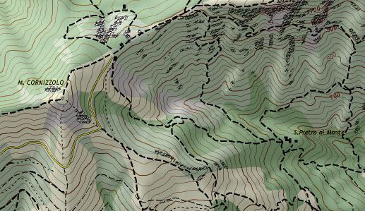 esempio di mappa da trail in orientamento